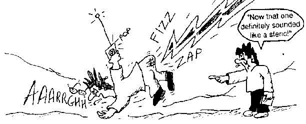 Whimsical Cartoon Image Of A Fellow Holding A Receiver And